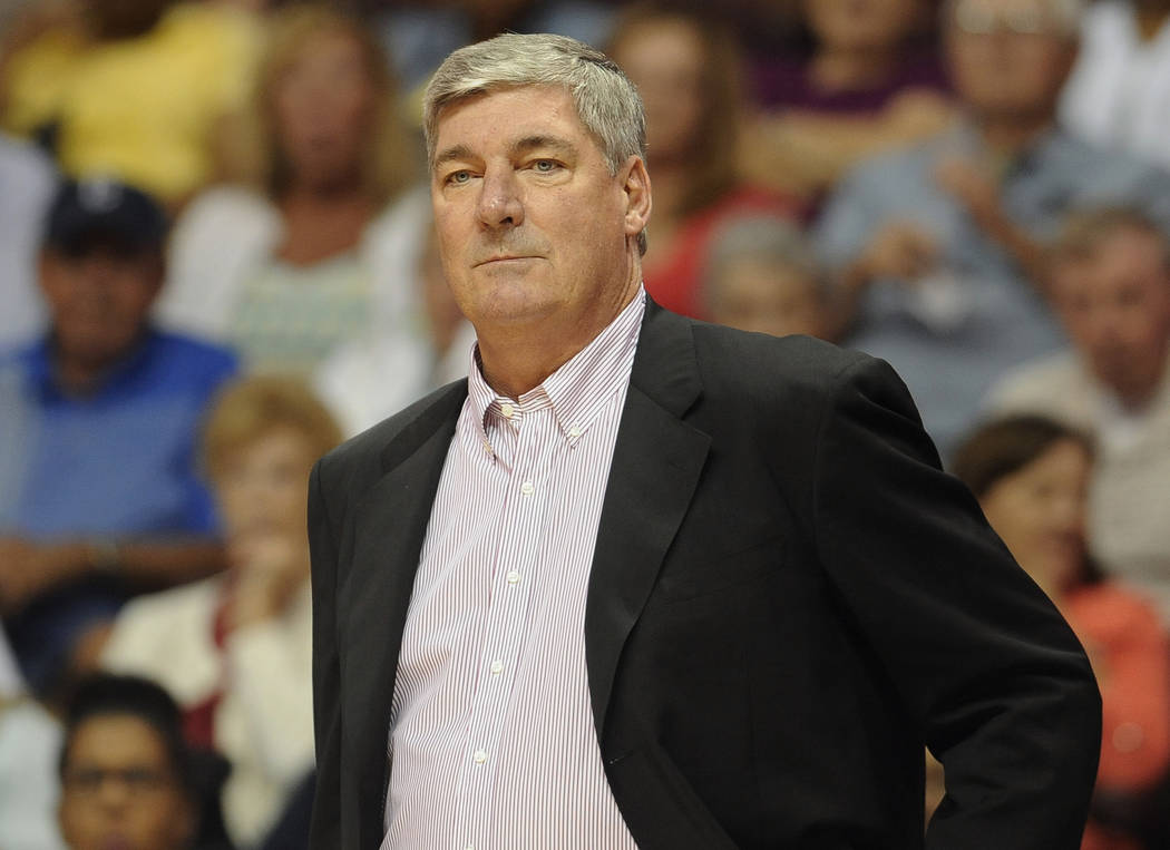 FILE - In this Aug. 14, 2015, file photo, New York Liberty head coach Bill Laimbeer watches during the first half of a WNBA basketball game, in Uncasville, Conn.  Curt Miller has led the Connectic ...