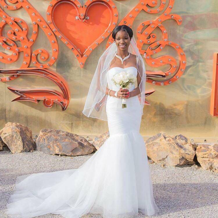 Brande West-Stewart married Danny Stewart at the Neon Museum in March 2015. (Chris West)