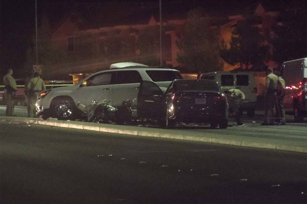 A Las Vegas police officer was injured Wednesday morning while investigating an accident in west Las Vegas. (Max Michor/Las Vegas Review-Journal)
