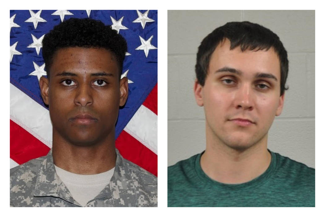 This combination of photos provided by the U.S. Army and the University of Maryland Police Department shows Richard Collins III, right, and Sean Urbanski. On Tuesday, Oct. 17, 2017, Urbanski was i ...