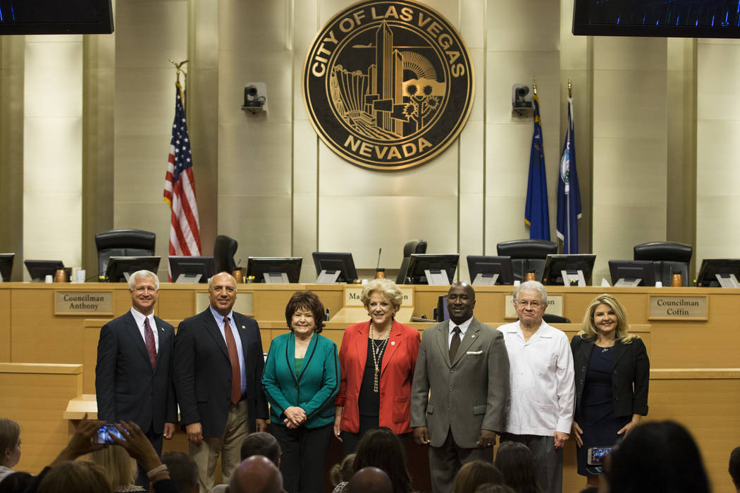 Council members from left, Steve Seroka, Stavros Anthony, Lois Tarkanian, Mayor Carolyn Goodman, Ricki Barlow, Bob Coffin, and Michele Fiore, at Las Vegas City Hall in Las Vegas, on Wednesday, Jul ...