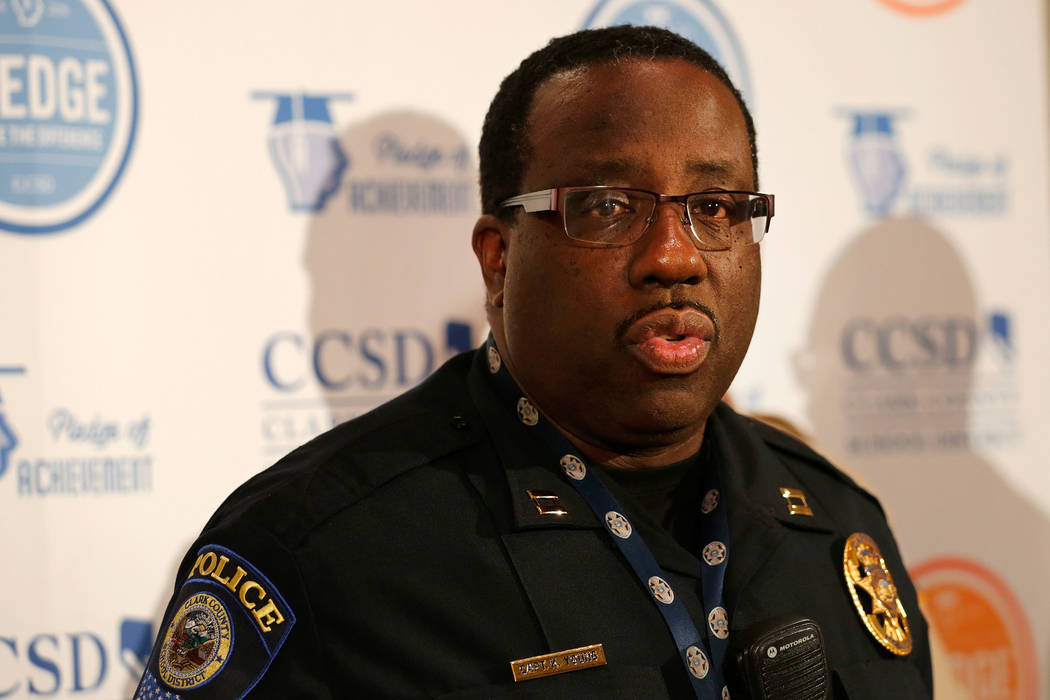 Clark County School District Police Capt. Ken Young speaks during a news conference at the CCSD office in Las Vegas (Las Vegas Review-Journal)