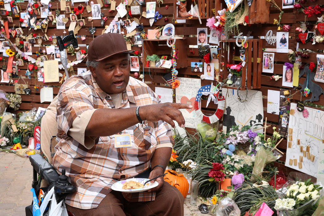 Andre King talks about the healing garden Wednesday, Oct. 18, 2017, in Las Vegas. King has been spending 8-10 hours a day since the garden was completed. Bizuayehu Tesfaye Las Vegas Review-Journal ...