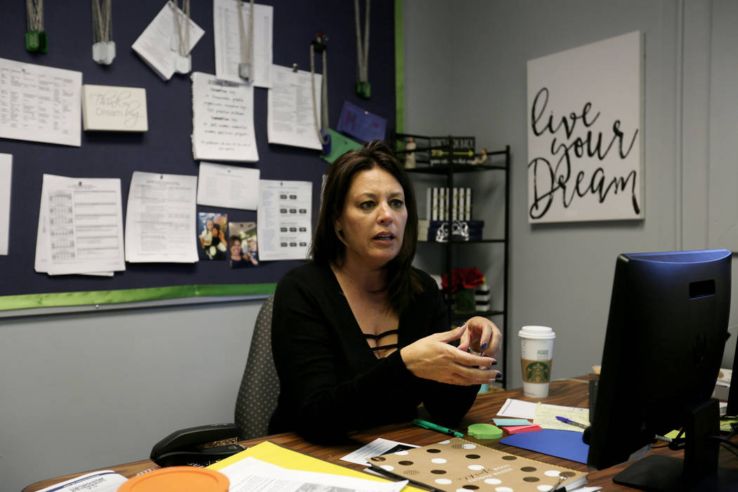 Mission High School's principal Barbara Collins discusses her vision for the school in Las Vegas, Thursday, Oct.19, 2017. Mission High School is the districtճ first school dedicated solely t ...