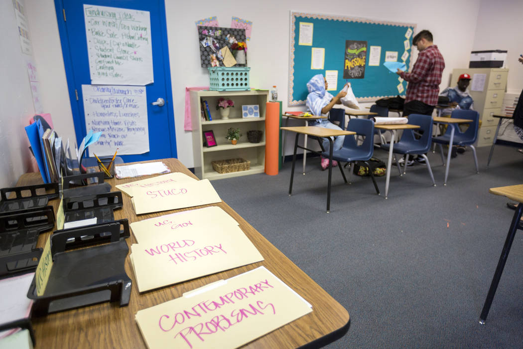 Folders with different subjects in the history classroom at Mission High School in Las Vegas, Thursday, Oct. 19, 2017. Mission High School is the districtճ first school dedicated solely to h ...