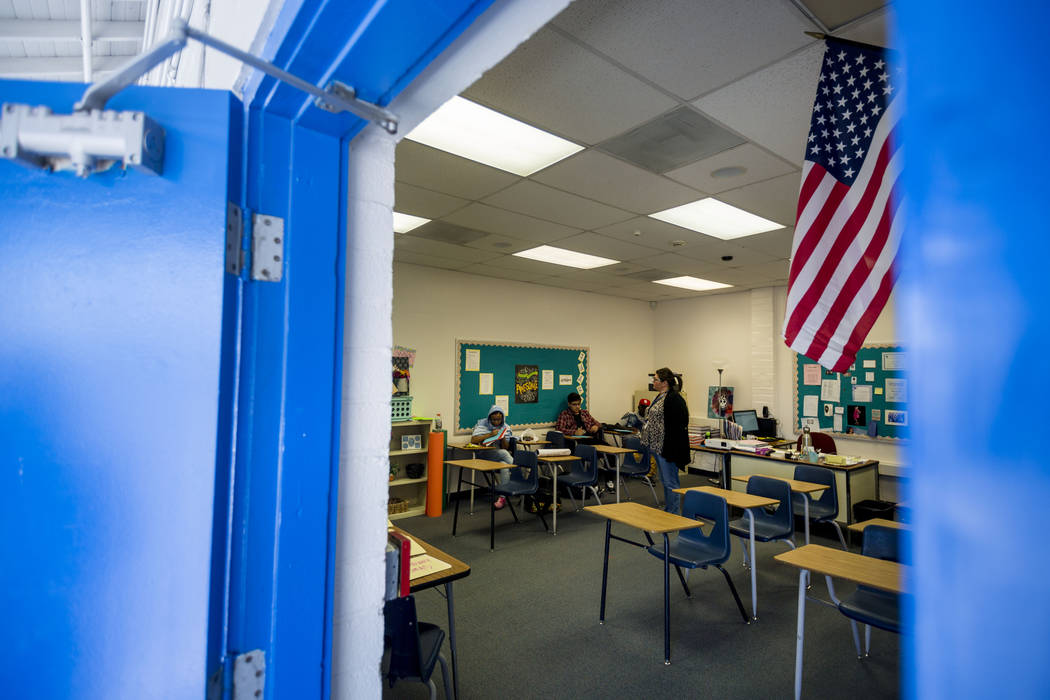 History class at Mission High School in Las Vegas, Thursday, Oct. 19, 2017. Mission High School is the districtճ first school dedicated solely to helping students in recovery. Elizabeth Brum ...
