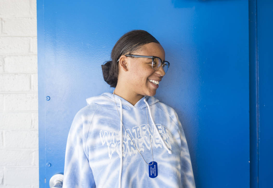 Mission High School student Valacini Dorn, 17, wears her sobriety dog tag at the school in Las Vegas, Thursday, Oct. 19, 2017. Mission High School is the districtճ first school dedicated sol ...