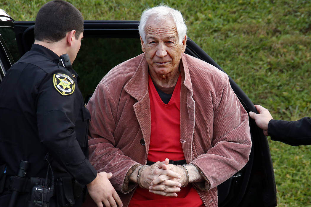 In this Oct. 29, 2015, file photo, former Penn State University assistant football coach Jerry Sandusky arrives for an appeal hearing at the Centre County Courthouse in Bellefonte, Pa. Sandusky lo ...
