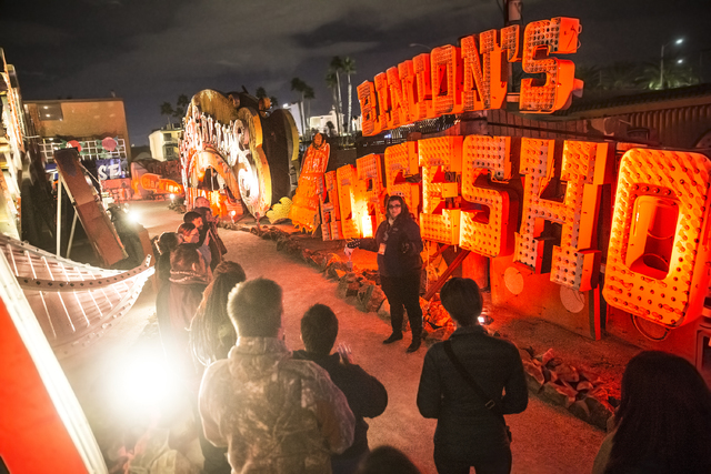 Ashley Canelon discusses the history of Binion's Horseshoe during a Neon Boneyard tour on Wednesday, Jan. 18, 2017, at The Neon Museum, in Las Vegas. Benjamin Hager/Las Vegas Review-Journal