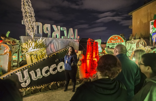 Ashley Canelon discusses how the Yucca Hotel's neon sign was formed during a Neon Boneyard tour on Wednesday, Jan. 18, 2017, at The Neon Museum, in Las Vegas. Benjamin Hager/Las Vegas Review-Journal