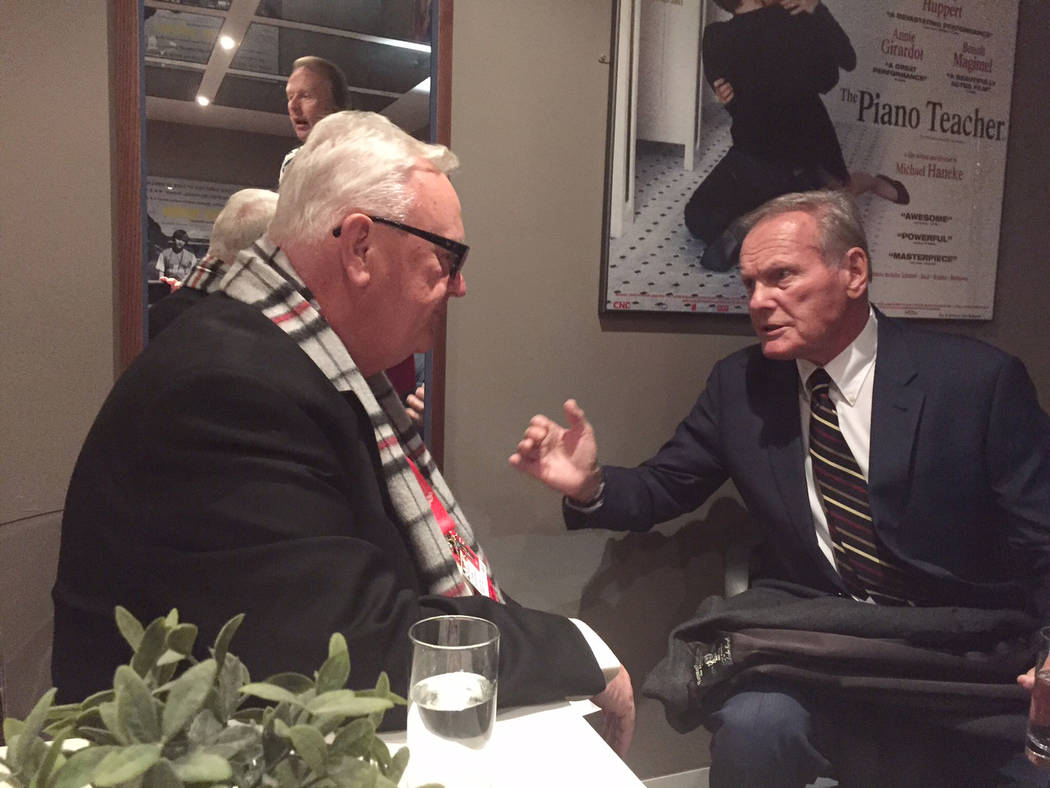 "Former Nevada Assemblyman Larry Spitler, left, an associate producer for the documentary ""Tab Hunter Confidential,"" met Hunter in March 2015 at the London premiere of the movie."