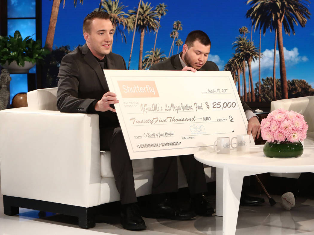 "Mandalay Bay building engineer Stephen Schuck, left, and security officer Jesus Campos, right, appear on ""The Ellen Degeneres Show."" Michael Rozman/Warner Bros."