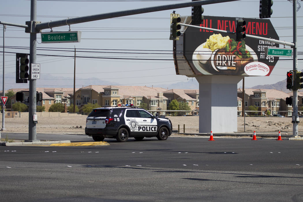 The intersection of Boulder Highway and Russell Road in Las Vegas near the site where a pedestrian was fatally struck on Saturday, July 15, 2017. Erik Verduzco Las Vegas Review-Journal @Erik_Verduzco