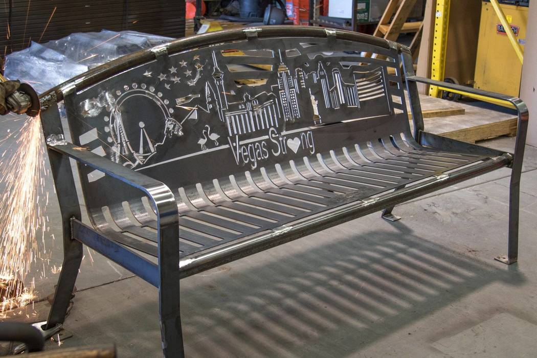 The bench which is set to be installed and dedicated Nov. 4, 2017, is seen in this undated photo at Smith Steelworks,  company in Spanish Fork, Utah. (Smith Steelworks/Special)