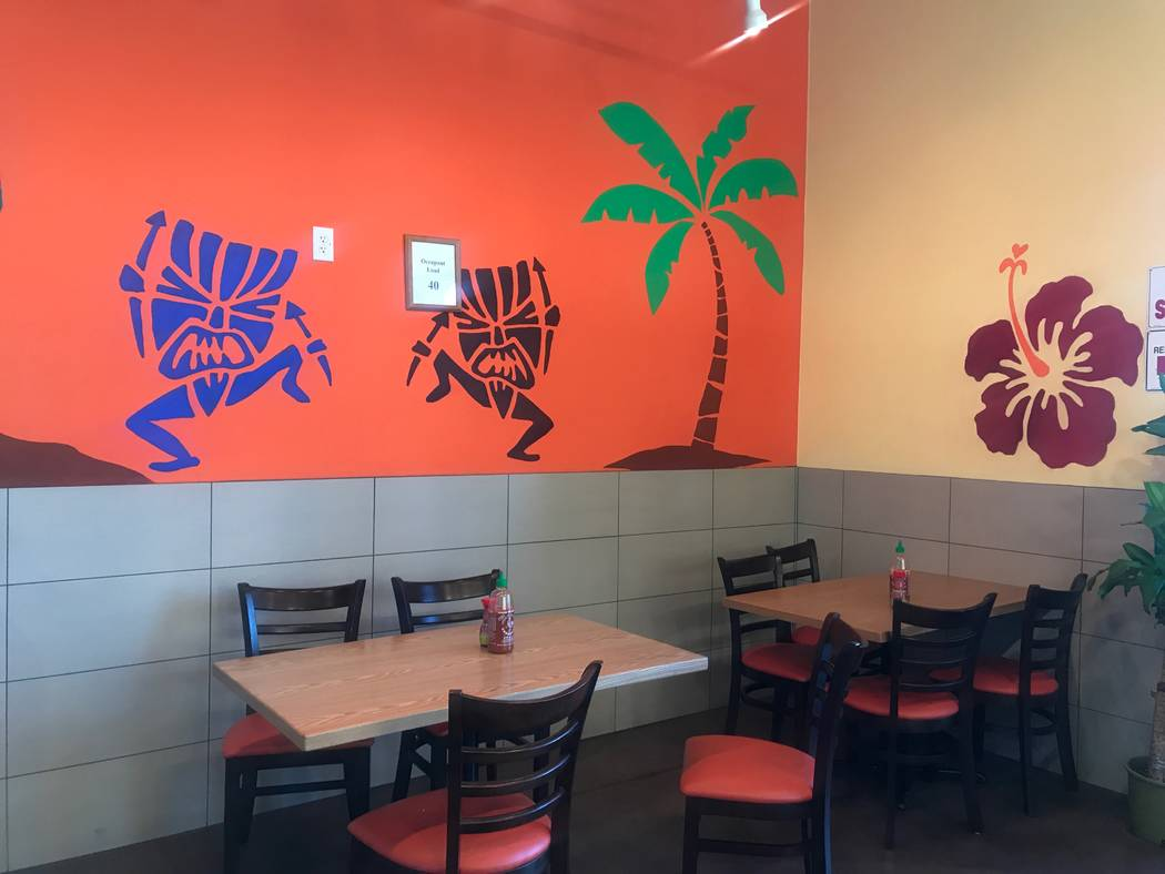 A seating area of Tiki's Hawaiian BBQ at 8460 W. Farm Road. (Kailyn Brown/View) @KailynHype