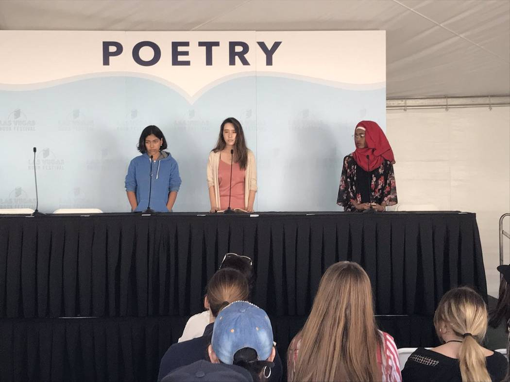 Clark County high school students present original poems Saturday during the 16th annual Las Vegas Book Festival in downtown Las Vegas.  Rachel Crosby @rachelacrosby