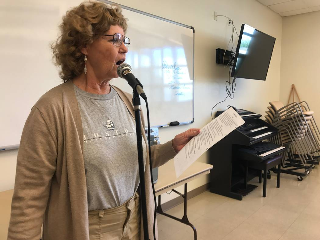 Good Times music coordinator Deecie Zimmerman leads a solo during a rehearsal on Oct. 13, 2017 at the Howard Lieburn Senior Center, 6230 Garwood Ave. (Kailyn Brown/View) @KailynHype