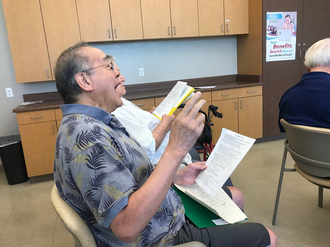 Good Times member Roland Tamsing sings with group on Oct. 13, 2017 at the Howard Lieburn Senior Center, 6230 Garwood Ave. (Kailyn Brown/View) @KailynHype
