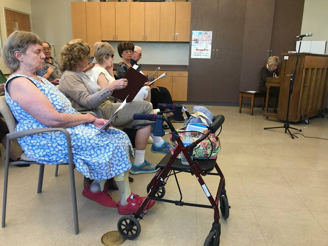 Good Times members rehearse seasonal songs on Oct. 13, 2017 at the Howard Lieburn Senior Center, 6230 Garwood Ave. (Kailyn Brown/View) @KailynHype