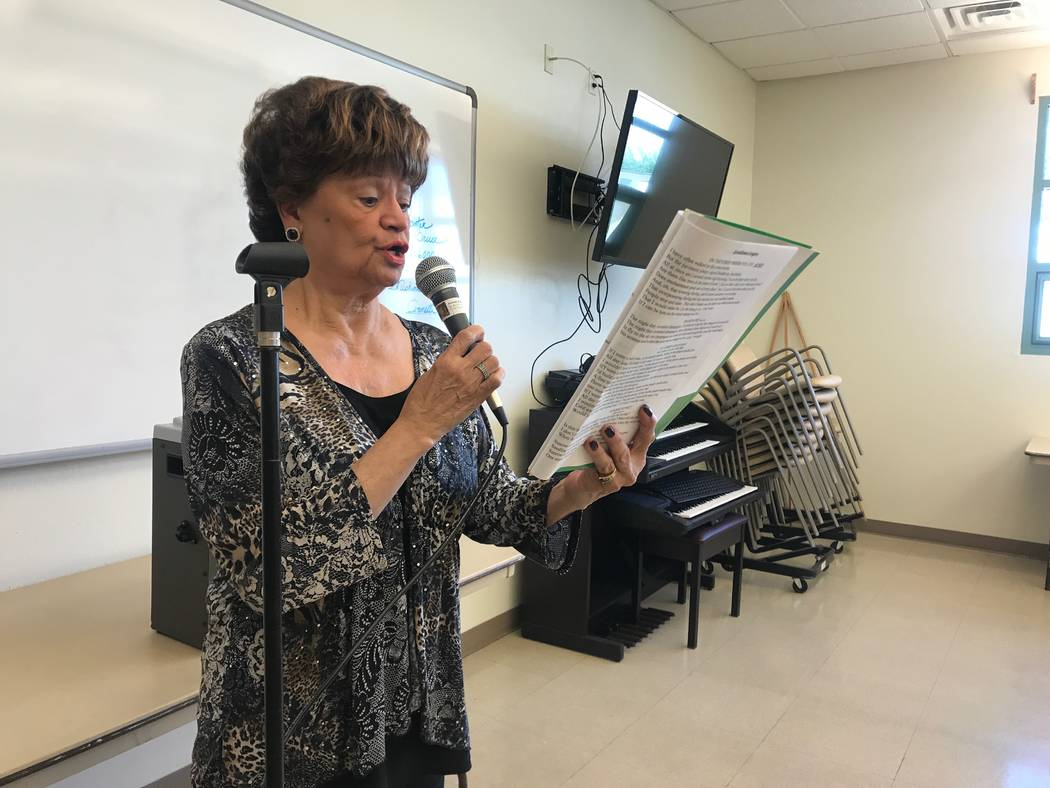 Nat Robinson of North Las Vegas leads a solo during a rehearsal on Oct. 13, 2017 at the Howard Lieburn Senior Center, 6230 Garwood Ave. (Kailyn Brown/View) @KailynHype