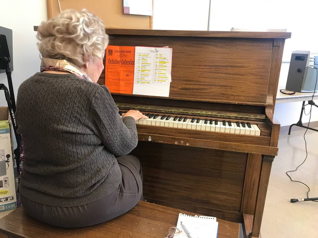 Good Times director and pianist Rose Hyatt plays the piano during a rehearsal on Oct. 13, 2017 at the Howard Lieburn Senior Center, 6230 Garwood Ave. (Kailyn Brown/View) @KailynHype