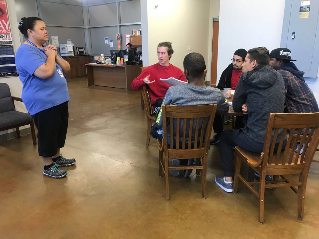 CSN workforce and development web instructor Noriega Roselyn Nego talks to a group of students on Oct. 17, 2017 at the North Las Vegas Library, 2250 N. Las Vegas Blvd. (Kailyn Brown/View) @KailynHype