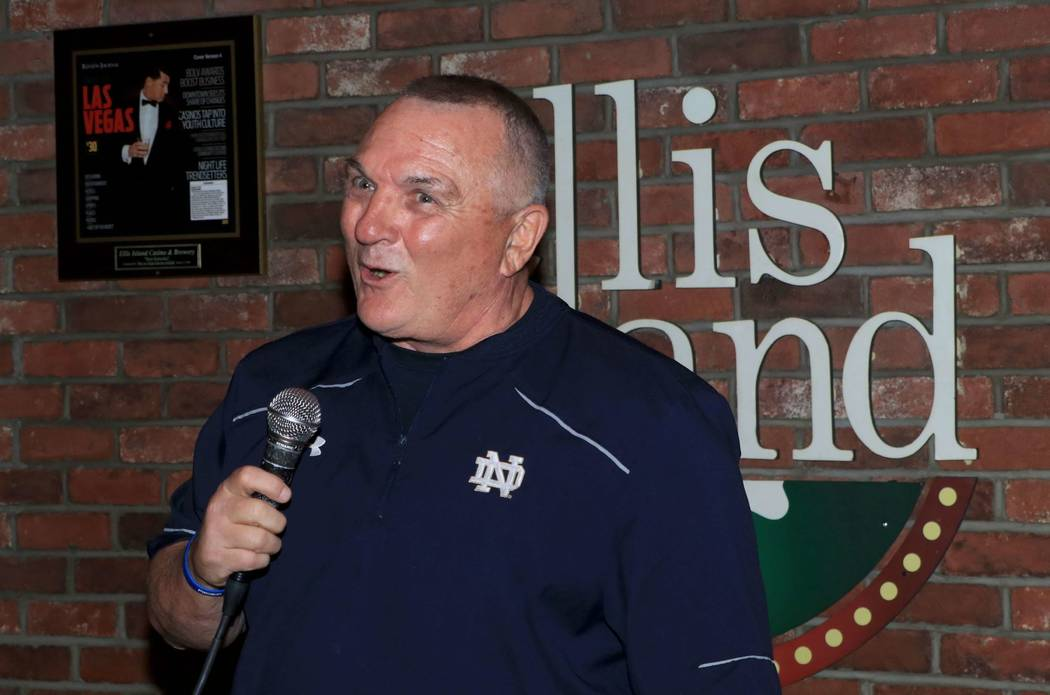 """Rudy Ruettiger is shown at """"Sing For Strength,"""" a fundraiser for victims of the 1 October shootings, at Ellis Island Casino & Brewery on Tuesday, Oct. 17, 2017. (Ira Kuzma)"""