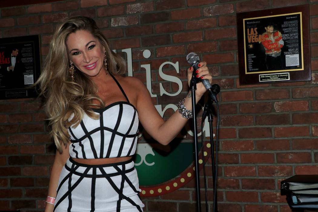 """Jaime Lynch is shown at """"Sing For Strength,"""" a fundraiser for victims of the 1 October shootings, at Ellis Island Casino & Brewery on Tuesday, Oct. 17, 2017. (Ira Kuzma)"""