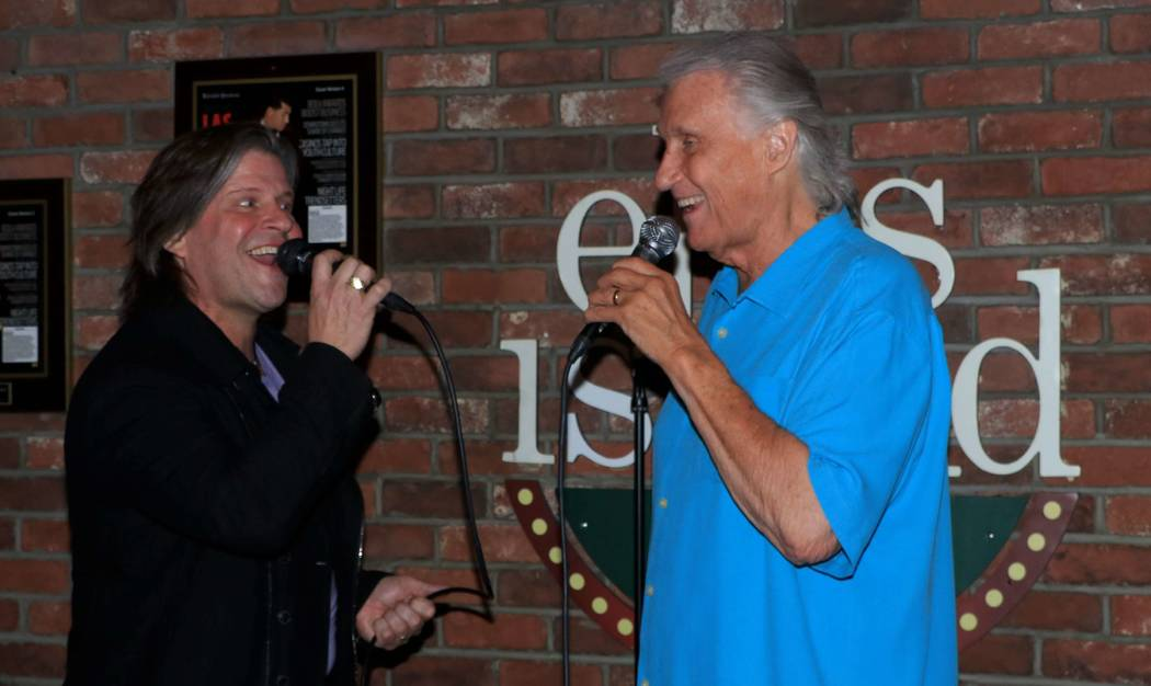 """Bucky Heard and Bill Medley are shown at """"Sing For Strength,"""" a fundraiser for victims of the 1 October shootings, at Ellis Island Casino & Brewery on Tuesday, Oct. 17, 2017. (Ira Kuzma)"""