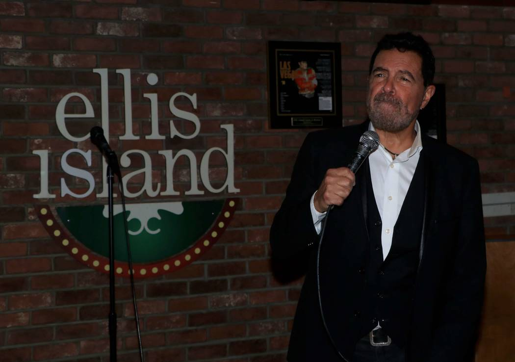 """Clint Holmes is shown at """"Sing For Strength,"""" a fundraiser for victims of the 1 October shootings, at Ellis Island Casino & Brewery on Tuesday, Oct. 17, 2017. (Ira Kuzma)"""