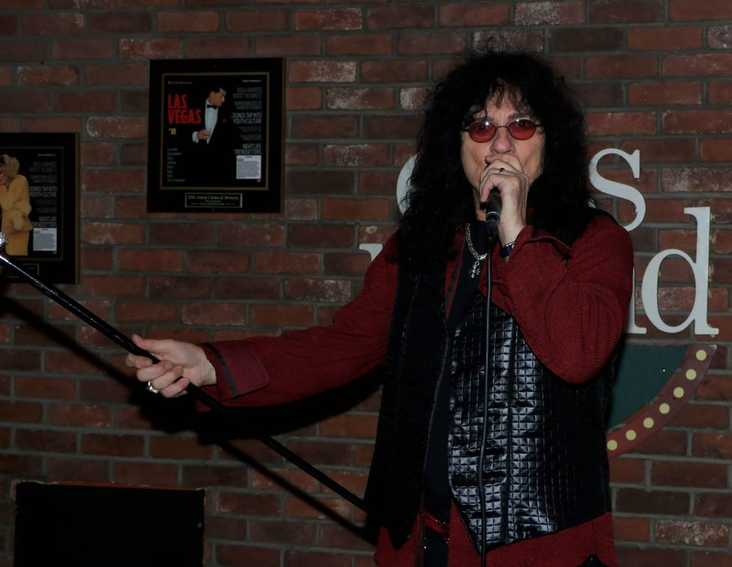 """Paul Shortino is shown at """"Sing For Strength,"""" a fundraiser for victims of the 1 October shootings, at Ellis Island Casino & Brewery on Tuesday, Oct. 17, 2017. (Ira Kuzma)"""