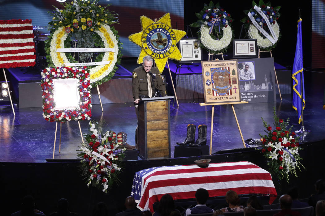 Sheriff Joseph Lombardo of the Las Vegas police department speaks during a funeral for Las Vegas police officer Charleston Hartfield, Friday, Oct. 20, 2017, in Henderson, Nev. Hartfield was killed ...
