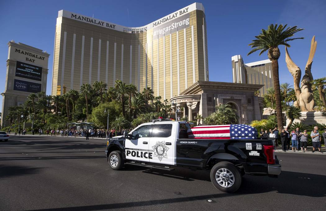 The procession for Metro officer Charleston Hartfield passes by Mandalay Bay on the Las Vegas Strip en route to a funeral service on Friday, Oct. 20, 2017. (Richard Brian Las Vegas Review-Journal) ...