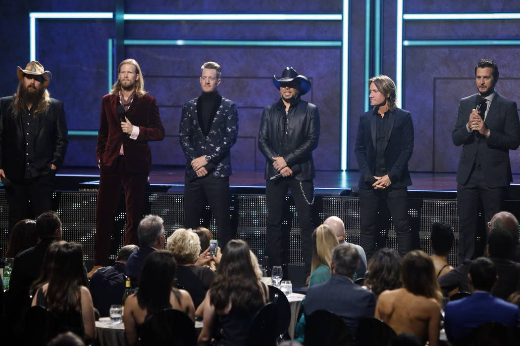(l to r) Chris Stapelton, Brian Kelly, Tyler Hubbard, Jason Aldean, Keith Urban and Luke Bryan are seen at 2017 CMT Artist of the Year Awards at Nashville's Schermerhorn Symphony Center on Wednesd ...