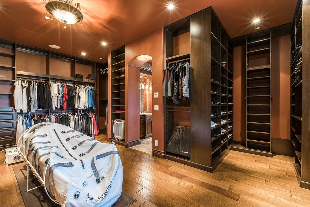 One of the master closets houses the $35,000 Quamvis 320 portable hyperbaric oxygen chamber, complete with a 220-volt compressor and pump. (Team Carver, Berkshire Hathaway Home Services)