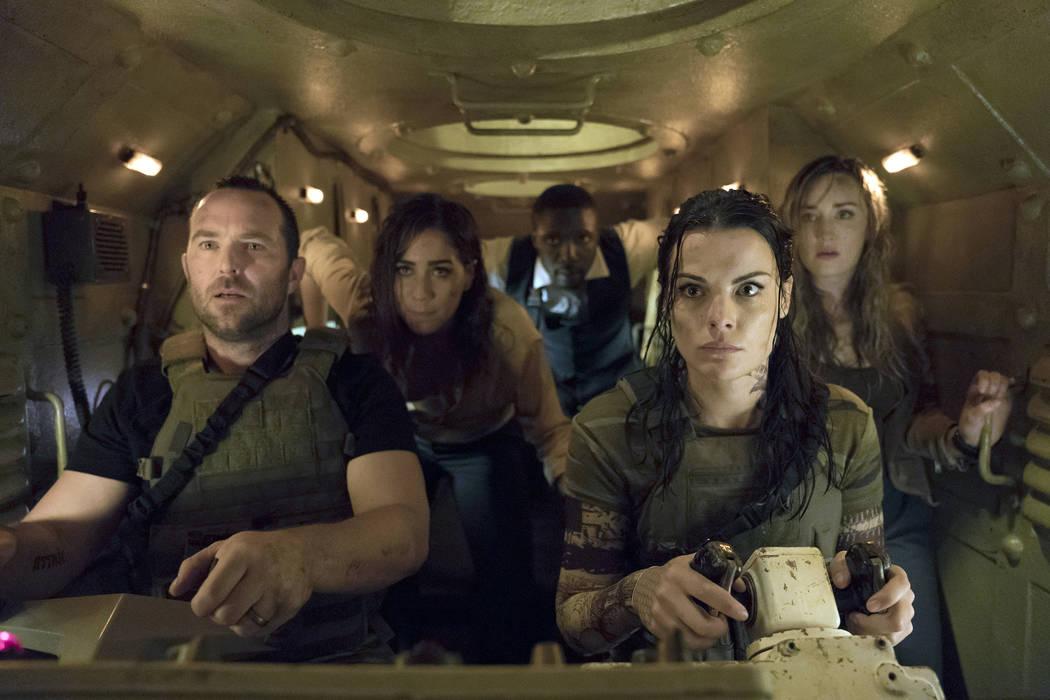 "Sullivan Stapleton as Kurt Weller, Audrey Esparza as Tasha Zapata, Rob Brown as Edgar Reade, Jaimie Alexander as Jane Doe, Ashley Johnson as Patterson in ""Blindspot."" Peter Kramer NBC"