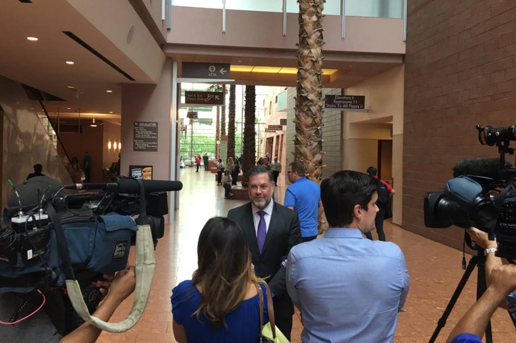 Attorney Brian Nettles speaks with reporters on ruling to preserve evidence in Harvest 91 massacre. David Ferrara Las Vegas Review-Journal