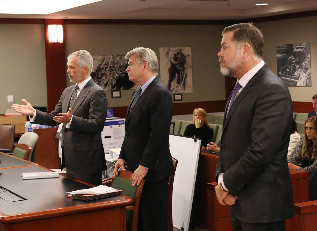 Attorneys Jim Pisanelli, left, and Brad Brian, representing MGM Resorts International, and Brian Nettles, attorney for Rachel Sheppard, who was shot three times during the October mass shooting, a ...