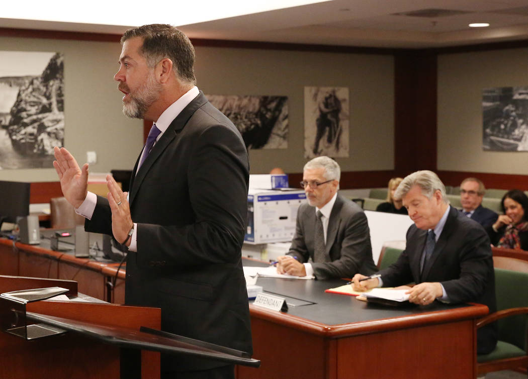 Brian Nettles, attorney for Rachel Sheppard, who was shot three times during the October mass shooting, appears before a judge as Attorneys Jim Pisanelli, center, and Brad Brian, right, representi ...