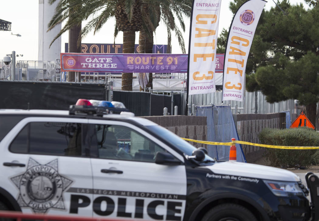 Police keep guard at the site of the Route 91 Harvest country music festival at the Las Vegas Village festival grounds, Thursday, Oct. 19, 2017. Richard Brian Las Vegas Review-Journal @vegasphotograph