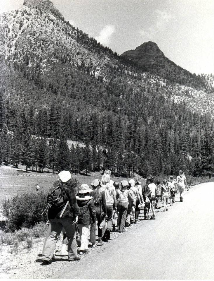 Girl Scouts hike in the Spring Mountains in this undated photo probably taken in the 1960s. (Girl Scouts of Southern Nevada)