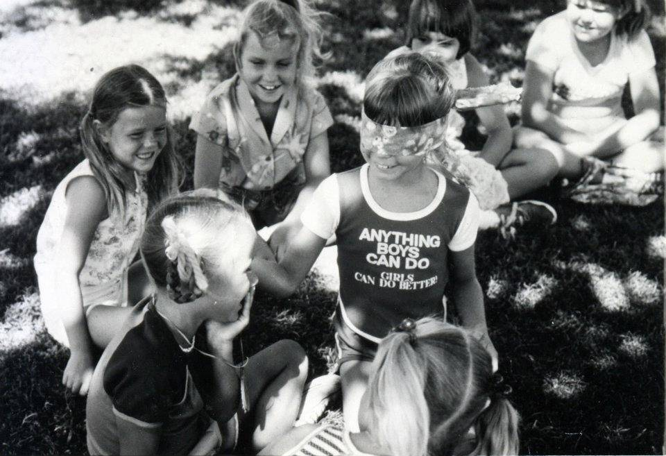Girl Scouts play a game during their stay at Foxtail Camp in the Spring Mountains sometime in the 1970s. (Girl Scouts of Southern Nevada)