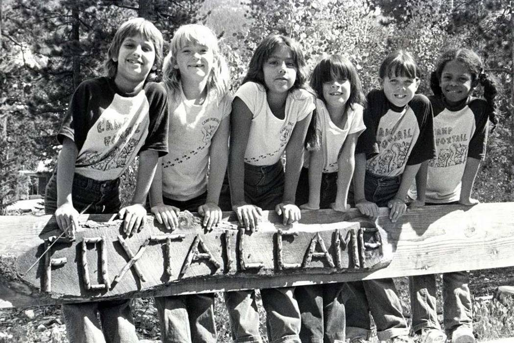A group of Girl Scouts pose for a picture at Foxtail Camp in the Spring Mountains in this undated photo likely taken in the 1970s. (Girl Scouts of Southern Nevada)