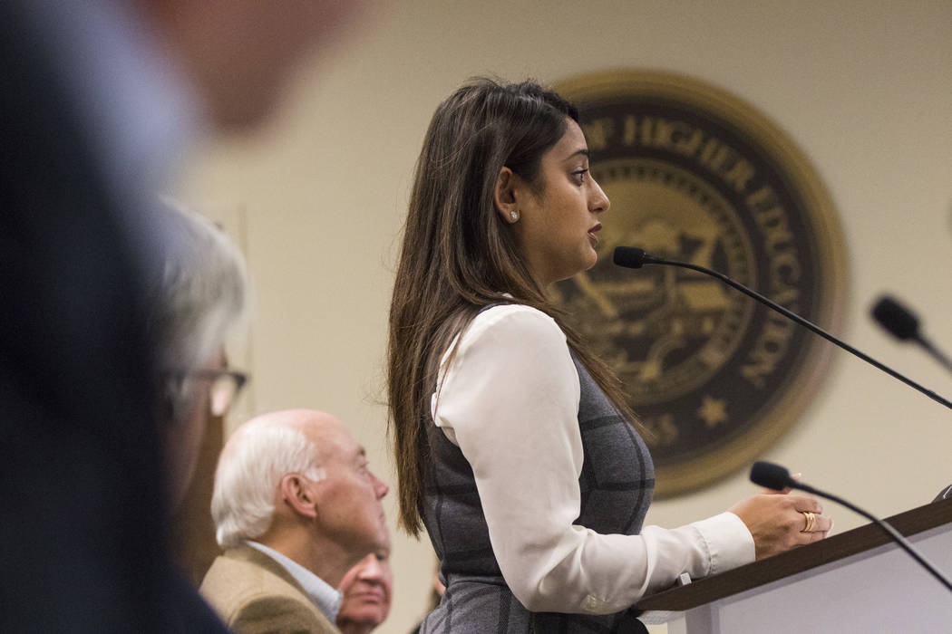 Dina Patel, nurse practitioner at the pediatric HIV program at UNLV's School of Community Health Sciences, speaks during public comment at a meeting of the Nevada Board of Regents at the Nevada Sy ...