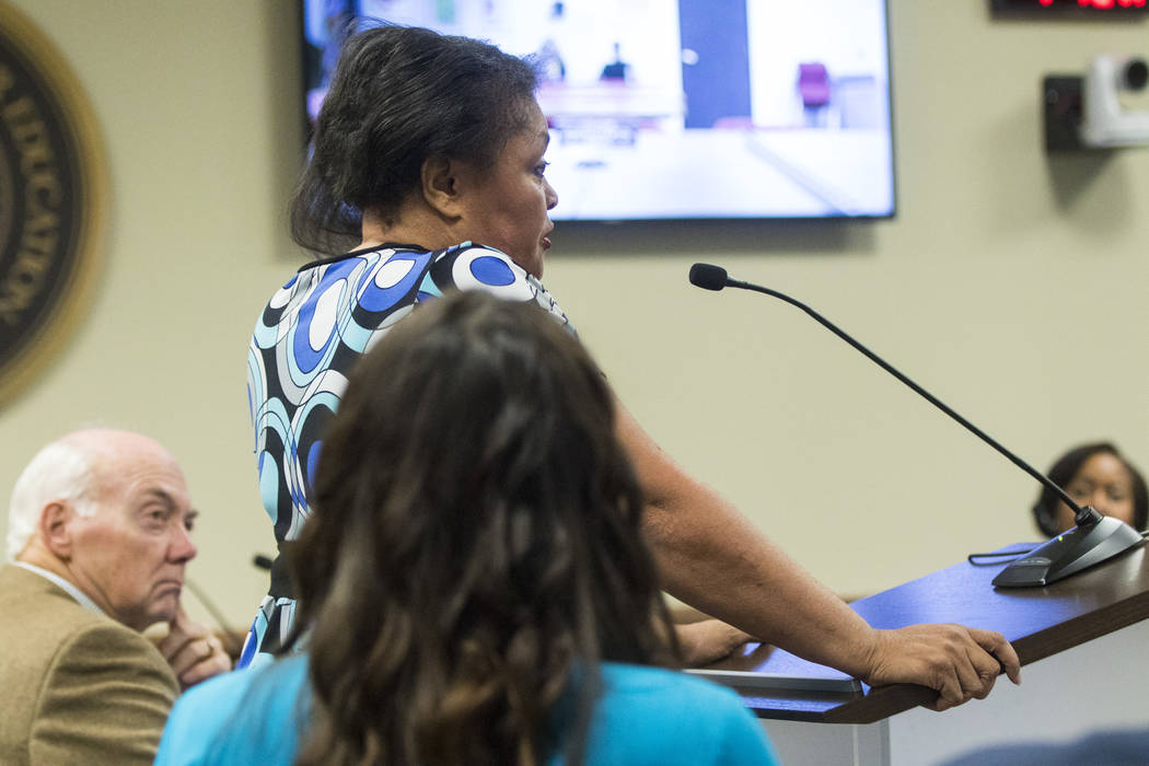 Simona Johnson, mother of a daughter with HIV, speaks during public comment at a meeting of the Nevada Board of Regents at the Nevada System of Higher Education administration office in Las Vegas  ...