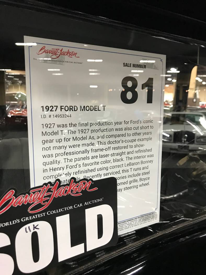 A description sign in the window of a Model T car at the Barrett Jackson car auction in Las Vegas on Thursday, October 19, 2017. (Todd Prince/Las Vegas Review-Journal)