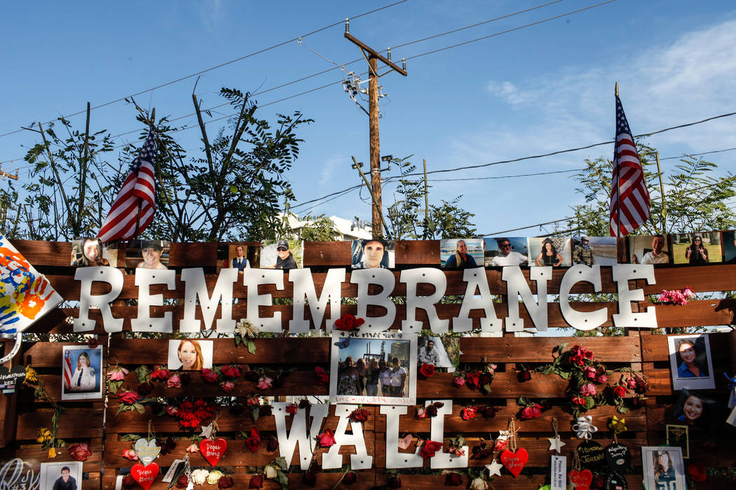 A memorial at the Las Vegas Community Healing Garden in Las Vegas, Monday, Oct. 16, 2017, honoring the victims of the Route 91 Harvest Festival mass shooting. Joel Angel Juarez Las Vegas Review-Jo ...