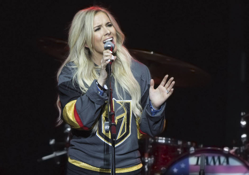 """Sierra Black performs during """"Vegas Strong: A Night of Healing,"""" a benefit concert on Thursday, October 19, 2017, at The Orleans Arena, in Las Vegas, for first responders and those affected by the ..."""