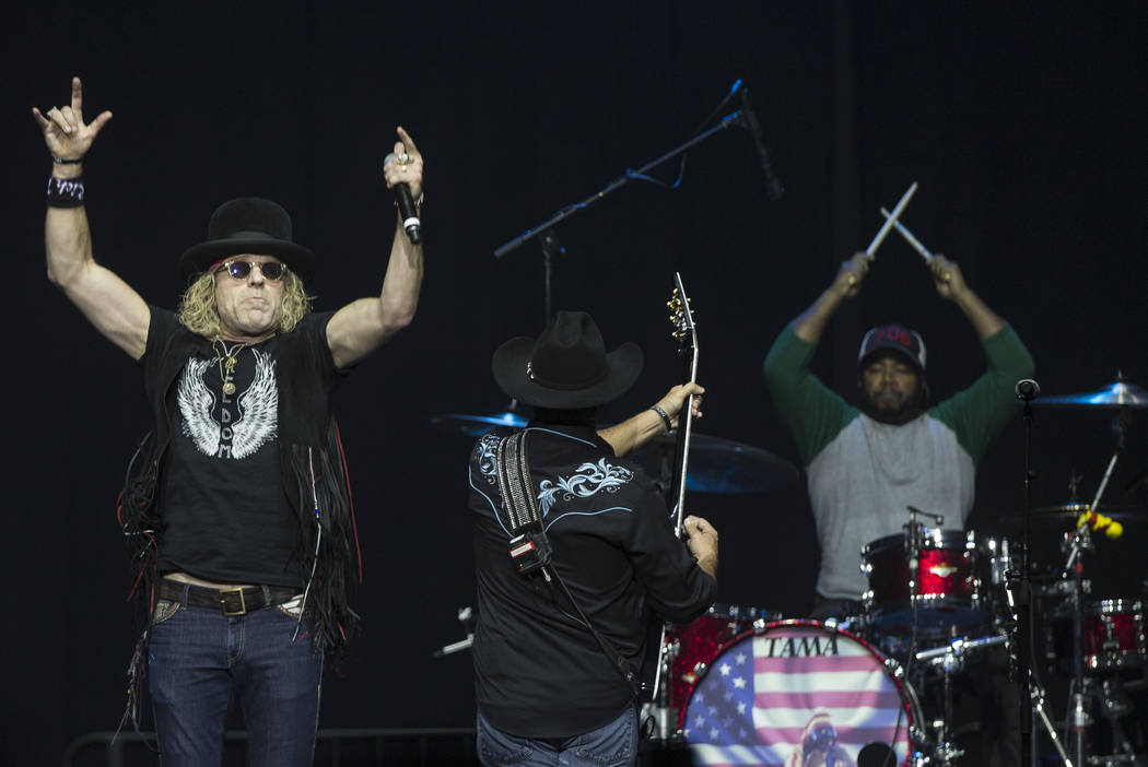 """Big & Rich perform during """"Vegas Strong: A Night of Healing"""", a benefit concert on Thursday, October 19, 2017, at The Orleans Arena, in Las Vegas, for first responders and those affected by th ..."""