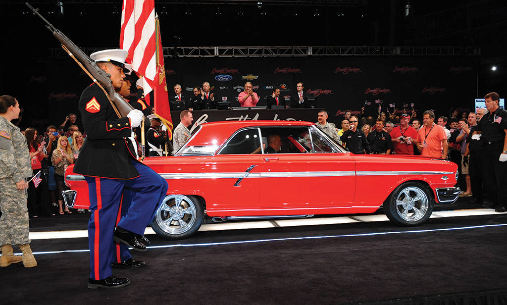 During a previous Barrett-Jackson Las Vegas auction, cars were sold to support veteran charities. (Courtesy)